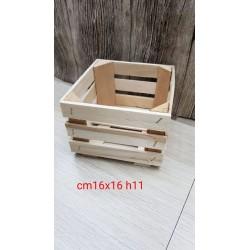 °°°CASSETTA IN LEGNO NATURALE CM16X16 H11