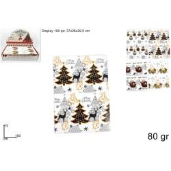 BOX 100 FOGLI CARTA REGALO XMAS 80GR 70X100CM
