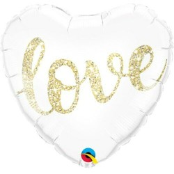 PALLONCINO 18 LOVE GOLD GLITTER 46 CM