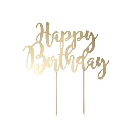 CAKE TOPPER HAPPY BIRTHDAY GOLD  CM20.5XH23CM