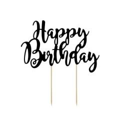 CAKE TOPPER HAPPY BIRTHDAY BLACK  CM20.5XH23CM