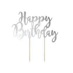 CAKE TOPPER HAPPY BIRTHDAY SILVER  CM20.5XH23CM